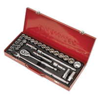 "32pc 1/2"" Sq Drive Socket Set WallDrive®️ - Metric/Imperial. AK693"